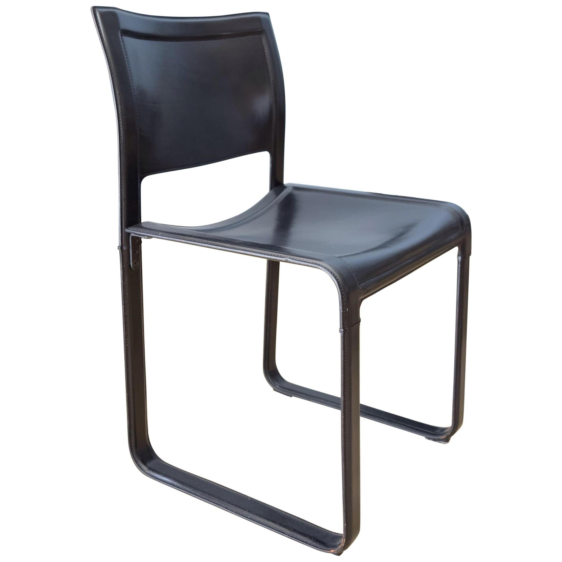 Delicieux Matteo Grassi Sistina Strap Black Leather Dining Chair, 3 Chairs Available