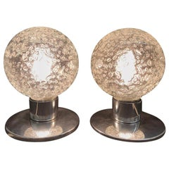 Pair of Petite Doria Leuchten Ice Glass Ball Side or Table Lamps, 1960s, German