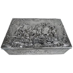 Antique German Rococo Revival Silver Keepsake Box with Frolicking Putti