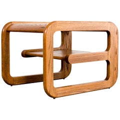 Midcentury Mersman Wood and Smoked Glass Cantilever Coffee Table