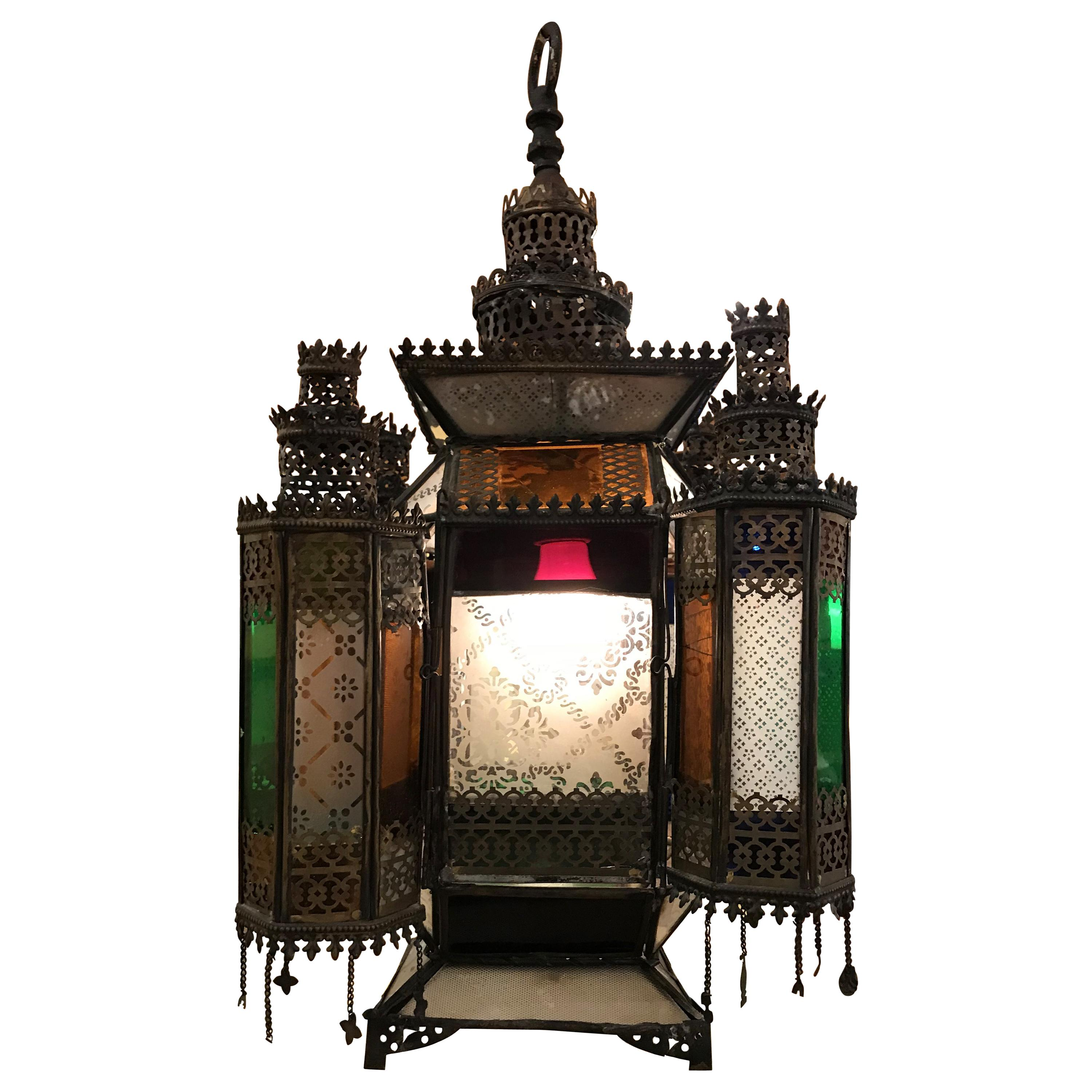 Large Indian Arts Moroccan Style Gold hanging Multi Colour Glass Lantern