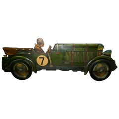 Wooden Trade Sign Advertising Model of a 3D Art Deco Bentley Racing Car