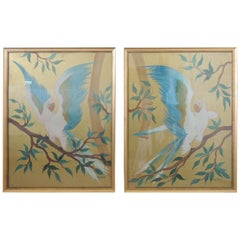 Pair of Hand Painted Hollywood Regency Verre Églomisé Style Parrots Paintings