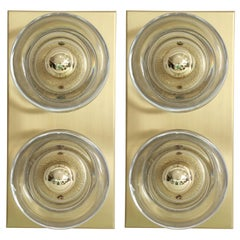 Sciolari Style Brass and Glass Sconces by Cosack