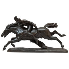 Bronze Group, Male Warrior on Horse, Signed and Dated 1911