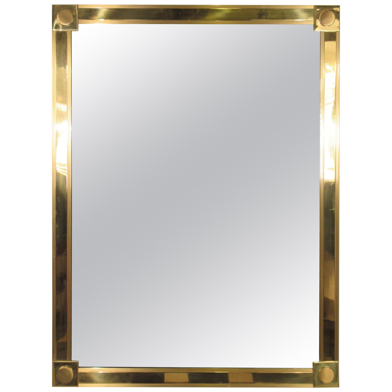 1970s Solid Brass Mirror