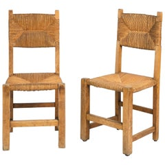 Pair of Rustic French Rush Side Chairs