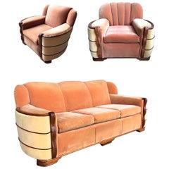 Art Deco Streamline Mohair Sofa and Club Chairs Suite