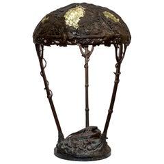 Austrian Art Nouveau Table Lamp, Naturalistic with Lizard, circa 1900