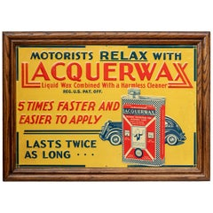 Antique Embossed Tin Advertising Sign, Automotive Interest