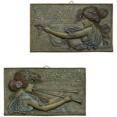 Pair of Austrian Art Nouveau Terracotta Wall Plaques, Signed, circa 1900
