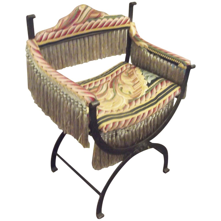 Antique Patinated Iron Savonarola Armchair with Luxurious Fringe For Sale