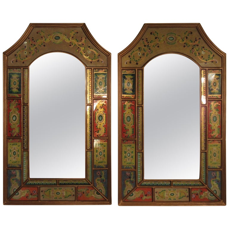 Pair Of 1980s Colorful Reverse Painted Mirrors For Sale At