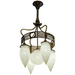 5-Arm Vienna Secessionist Chandelier, with Hand Blown Glass, Modernism in 1910