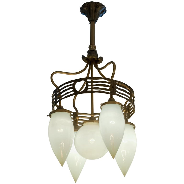 5-Arm Vienna Secessionist Chandelier, with Hand Blown Glass, Modernism in 1910 For Sale