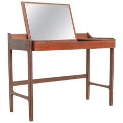 Midcentury Danish Modern Teak Wood Vanity Table, Made in Denmark, 1960s