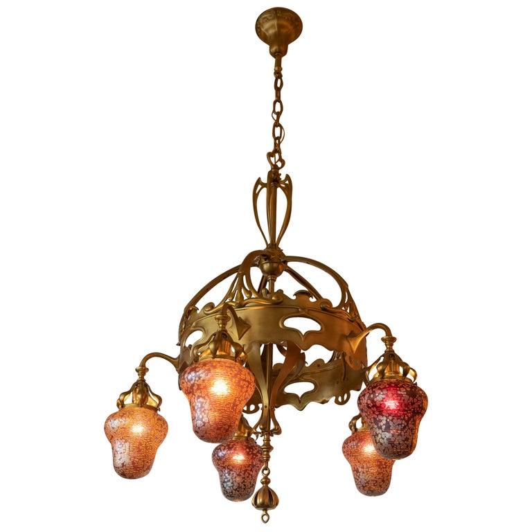 Austrian Art Nouveau 5-Light Chandelier with Hand Blown Shades For Sale