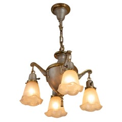 4 Arm Antique Chandelier, Silver Finish, with Iridescent Shades, circa 1920