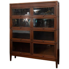 Mahogany Lawyer's Bookcase with Marquetry and 8 Compartments, circa 1910