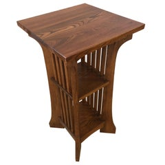 Handsome Oak Arts & Crafts Mission Style Side Table with Two Shelves