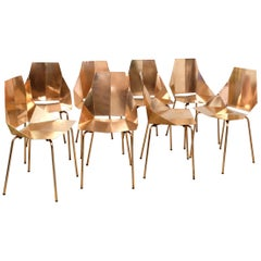 Set of Eight Designer Copper Metal Dining Chairs by Heals of London