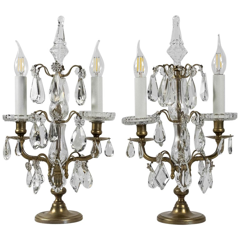 French Louis XVI Style, Pair of Gilt-Bronze and Cut-Crystal Girandole Lamps For Sale