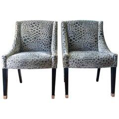 Travers Silk Velvet Chairs, Pair