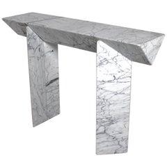 Impressive Console or Side Table in Calacatta Marble by Giulio Lazzotti