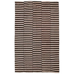 Vintage Room Size Graphic Tribal Striped Kilim