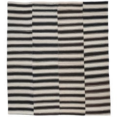 Vintage Ivory Black Graphic Striped Tribal Kilim