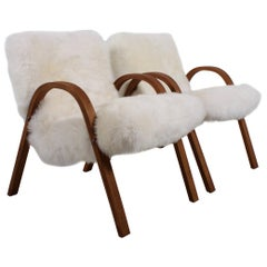 Set of Steiner Sheepskin Bow Wood Chairs, 1948, France