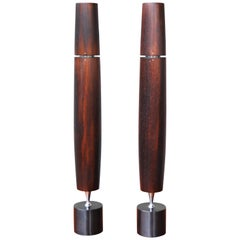 Pair of Ronson Modernist Exotic Hardwood Wenge Butane Varaflame Candlesticks