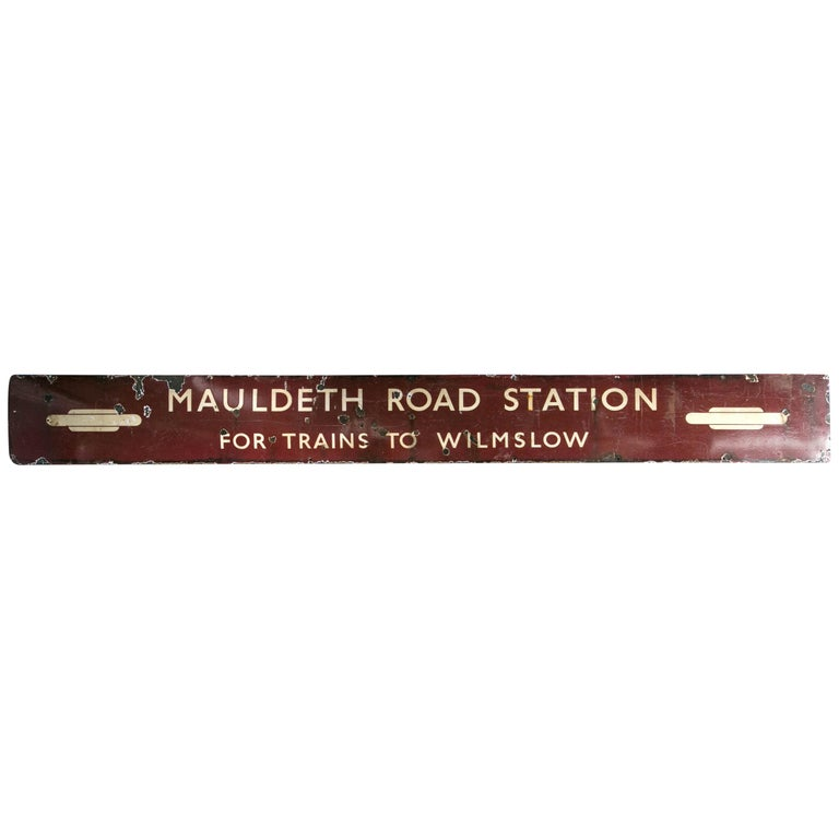 Antique English Railway Sign For Sale