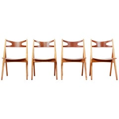 Set of Four Teak Hans J Wegner Sawbuck Model CH29 Chairs by Carl Hansen