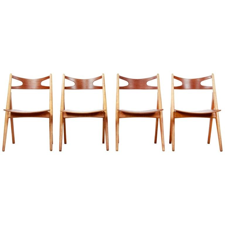Set of Four Teak Hans J Wegner Sawbuck Model CH29 Chairs by Carl Hansen For Sale
