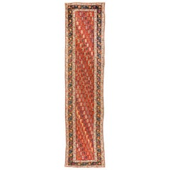 Antique Caucasian Genje Runner with Red, Green, Browns, and Blues