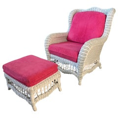White Wicker Wingback Chair and Ottoman