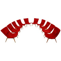 Crazy Set of Ten Midcentury Lounge Chairs by Miroslav Navratil in Red Fabric