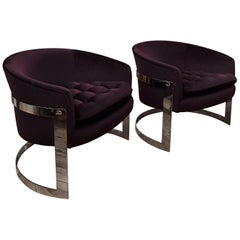 Flair Chrome and Mohair Designer Lounge Chairs