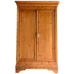 Antique French Housekeepers Cupboard Stripped Pine Two-Door, circa 1890