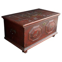 19th Century Northern Europe Pine Marriage Chest, circa 1866