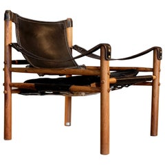 Arne Norell Black Leather Safari Chair Model Sirocco, 1960s