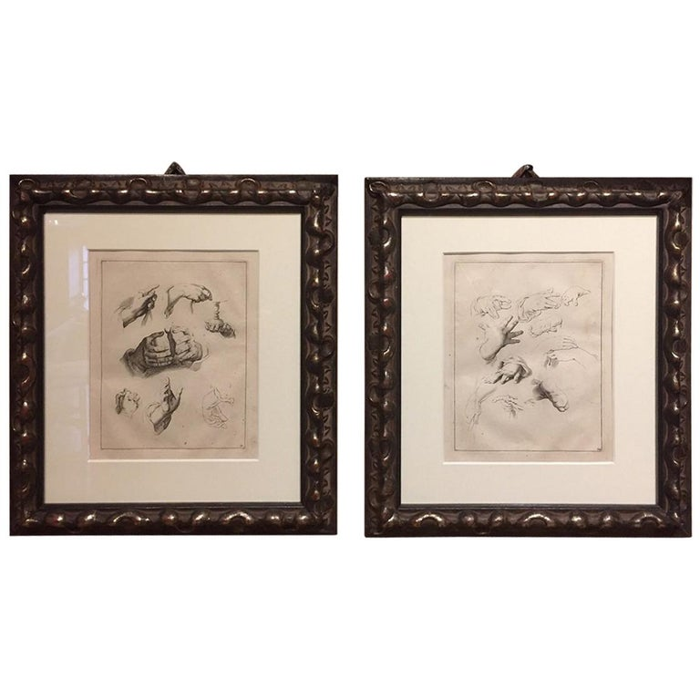 Abraham Bloemaert Pair of 17th Century Etching Study of Hands For Sale