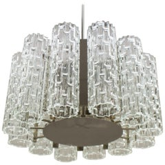 Rare Ceiling Lamp with 12 Textured Glass Shades, Kaiser Leuchten Germany, 1960s