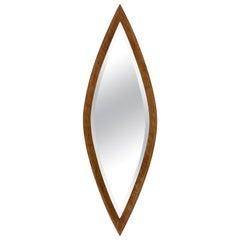 Oval Wall Mirror, Eye-Shaped, Wood Frame, 1950s Italy Mid-Century Modern