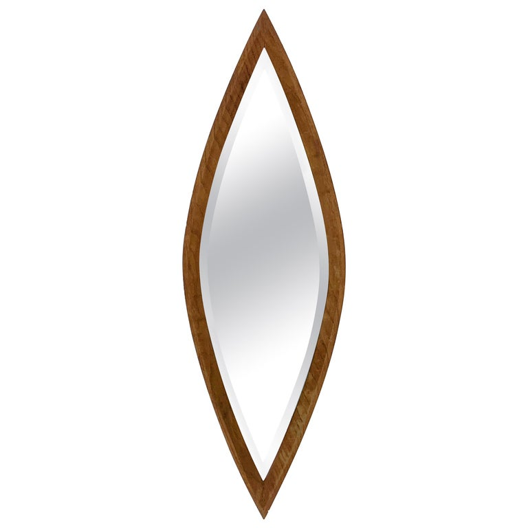 Oval Wall Mirror, Eye-Shaped, Wood Frame, 1950s Italy Mid-Century Modern For Sale