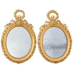 Pair French Brass Neoclassical Mirrors