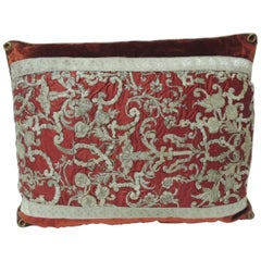 19th Century Metallic Threads Embroidery Lumbar Decorative Pillow