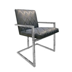1970s Chrome Frame Dining Chair with Grey and Midnight Blue Upholstery