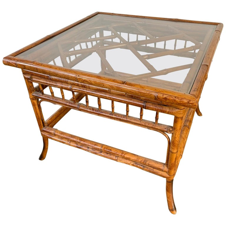 Chinoiserie Tiger Bamboo End Table For Sale